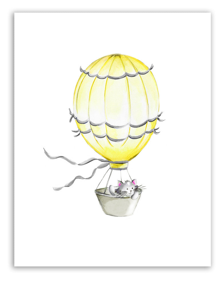 Hot Air Balloon with Kitty - Studio Q - Art by Nicky Quartermaine Scott
