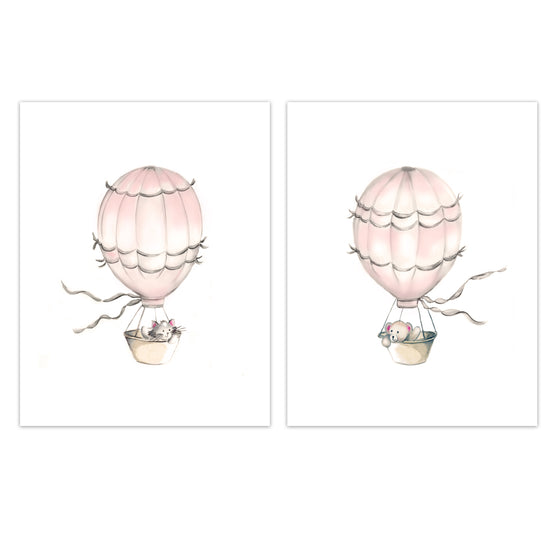 Hot Air Balloon Nursery Prints - Sweet Blush - Set of 2 - Studio Q - Art by Nicky Quartermaine Scott