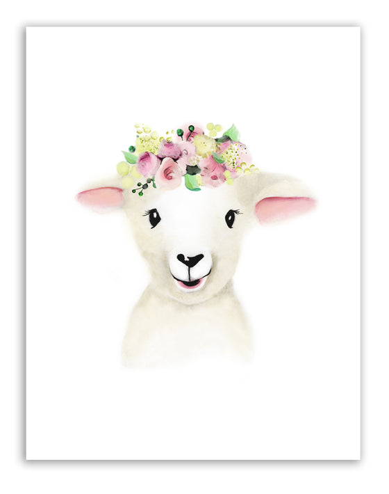 Lamb with Flower Crown Print