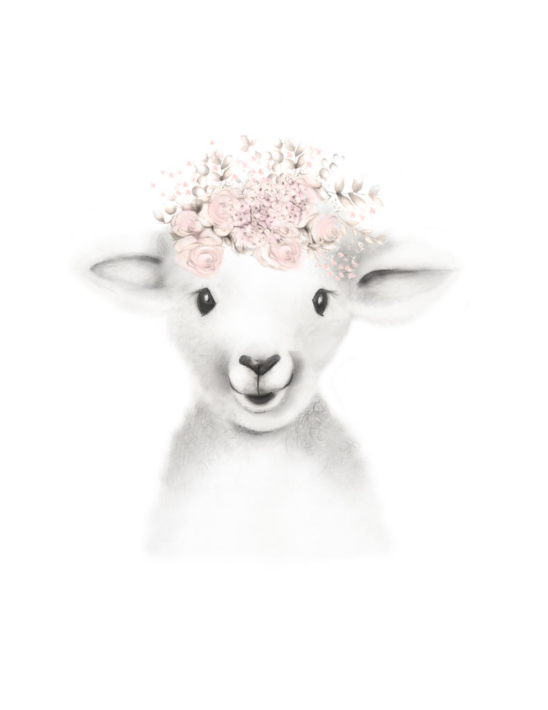 Lamb with Blush Flower Crown Print - Studio Q - Art by Nicky Quartermaine Scott