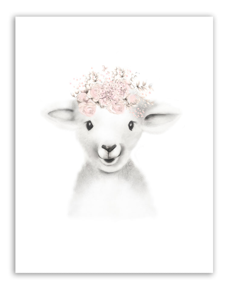 Lamb Flowers Fluffy Face Nursery Art Print