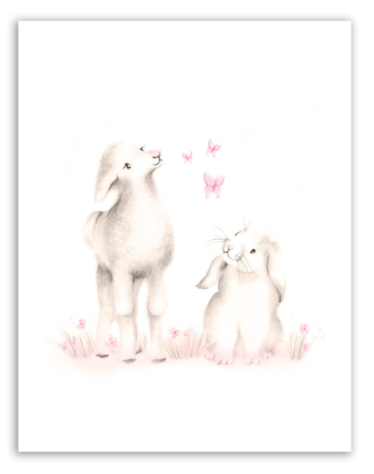 Lamb and Bunny Nursery Art Print