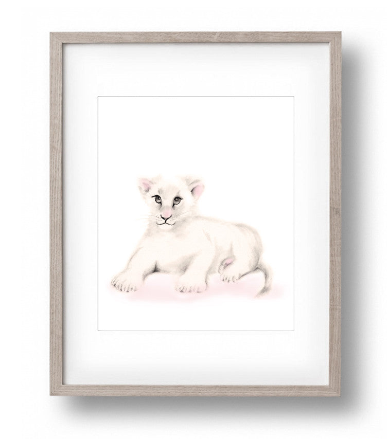 Lion Nursery Print - Sweet Blush - Studio Q - Art by Nicky Quartermaine Scott