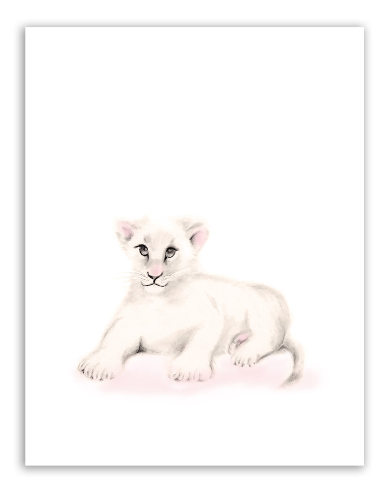Lion Nursery Print - Sweet Blush