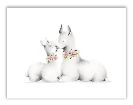 Llama Mama and Baby Print - Studio Q - Art by Nicky Quartermaine Scott