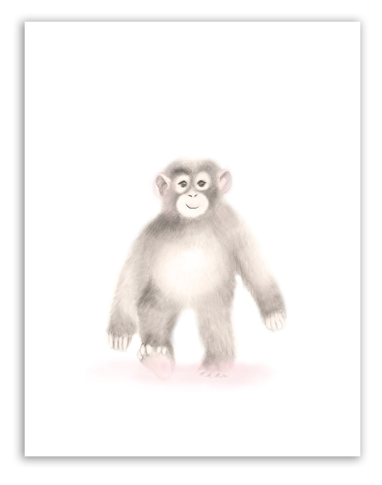 Monkey Nursery Art Print - Sweet Blush