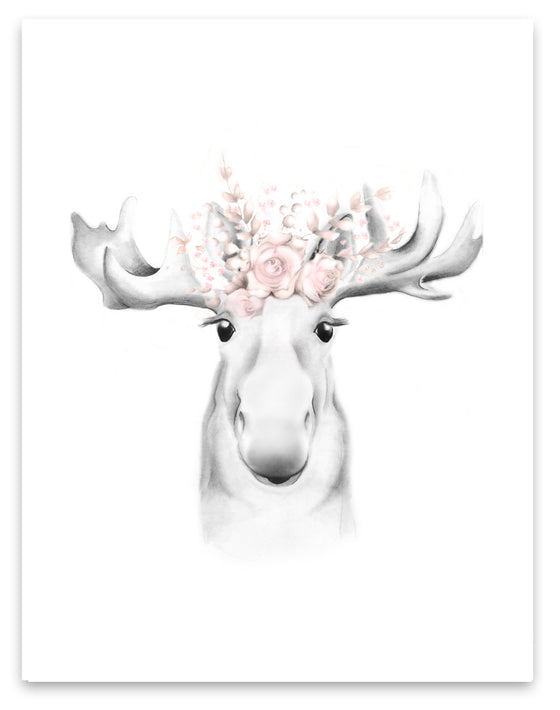 Moose with Blush Flower Crown Print - Studio Q - Art by Nicky Quartermaine Scott