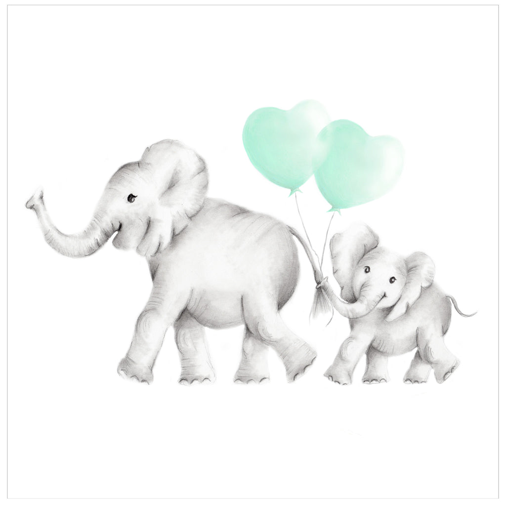 Mother and Baby elephant with balloons print