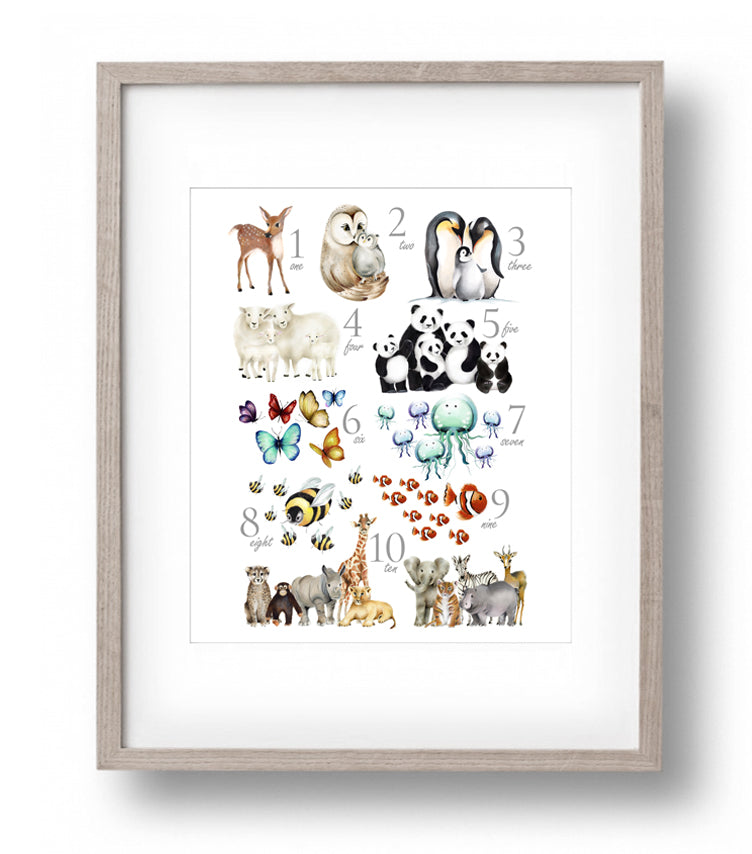 Animal Numbers Print - Studio Q - Art by Nicky Quartermaine Scott