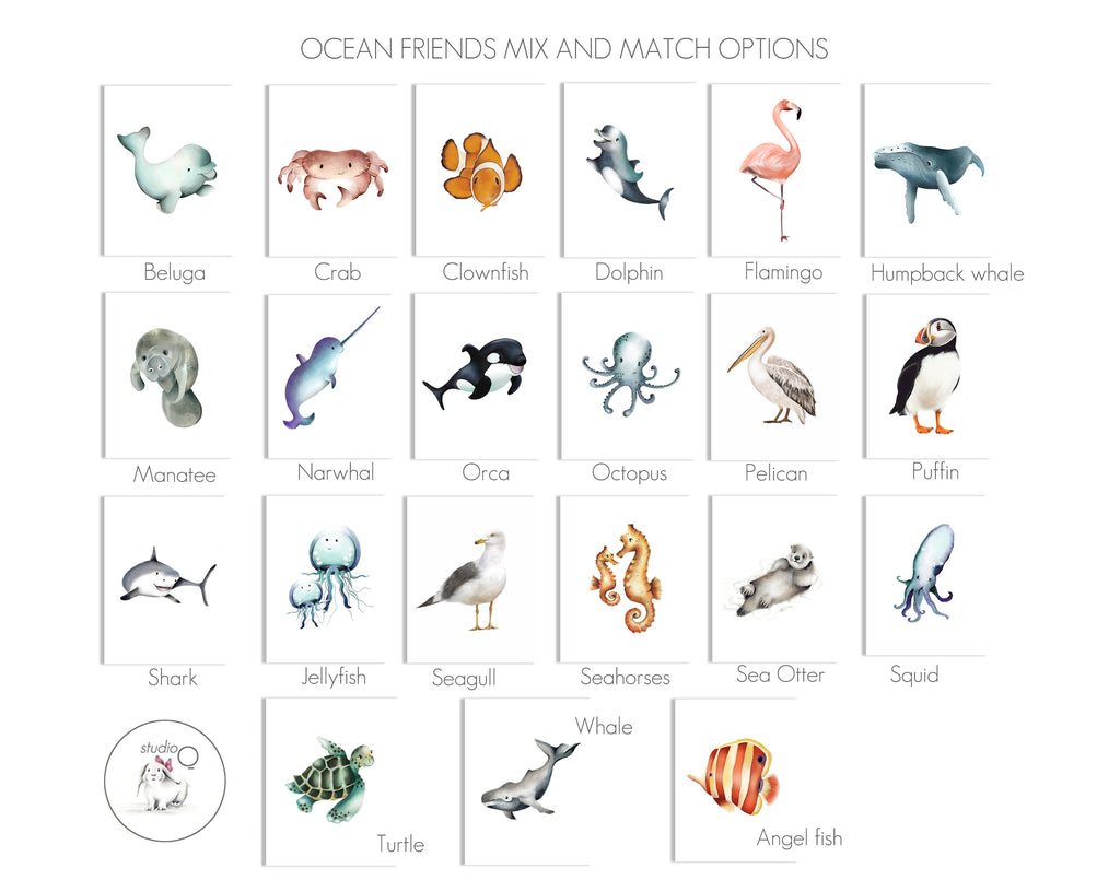 Ocean Friends Collection Prints - Studio Q - Art by Nicky Quartermaine Scott