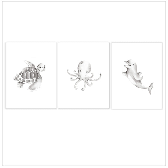 Ocean Friends Nursery Art Set of 3 Prints - Studio Q - Art by Nicky Quartermaine Scott