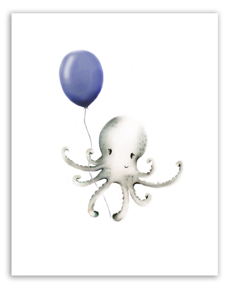 Octopus with Balloon Print - Studio Q - Art by Nicky Quartermaine Scott