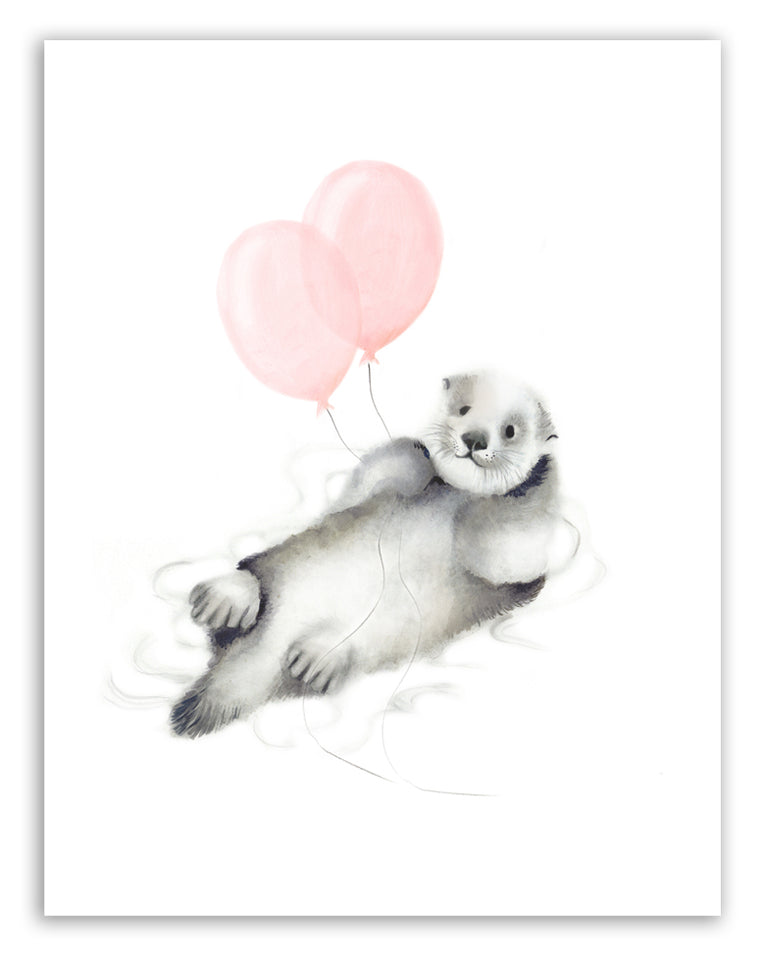 Otter with Balloons Art Print