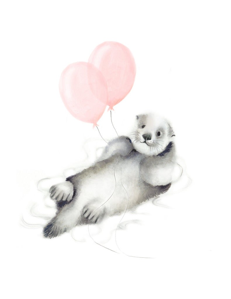 Otter with Balloons Art Print - Studio Q - Art by Nicky Quartermaine Scott