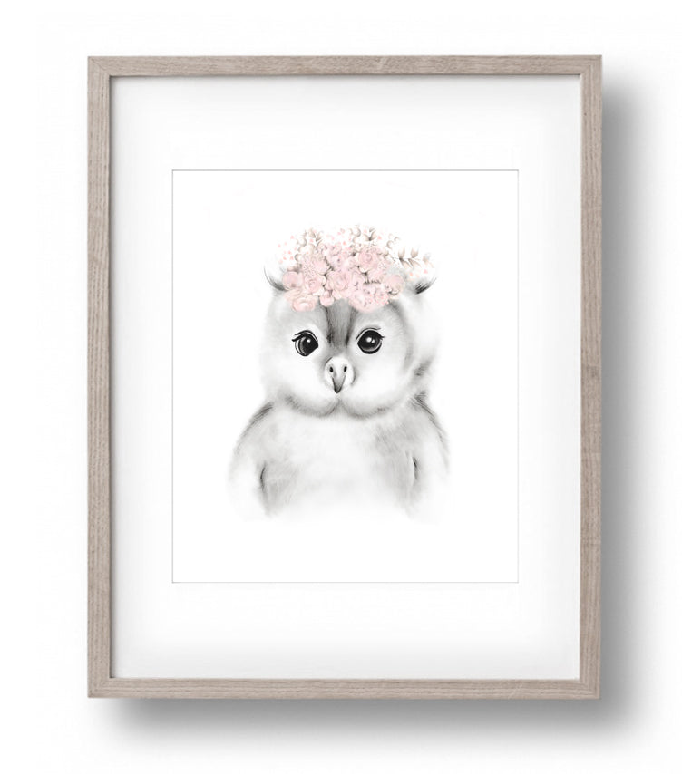 Baby Owl Blush Flower Crown Print - Studio Q - Art by Nicky Quartermaine Scott