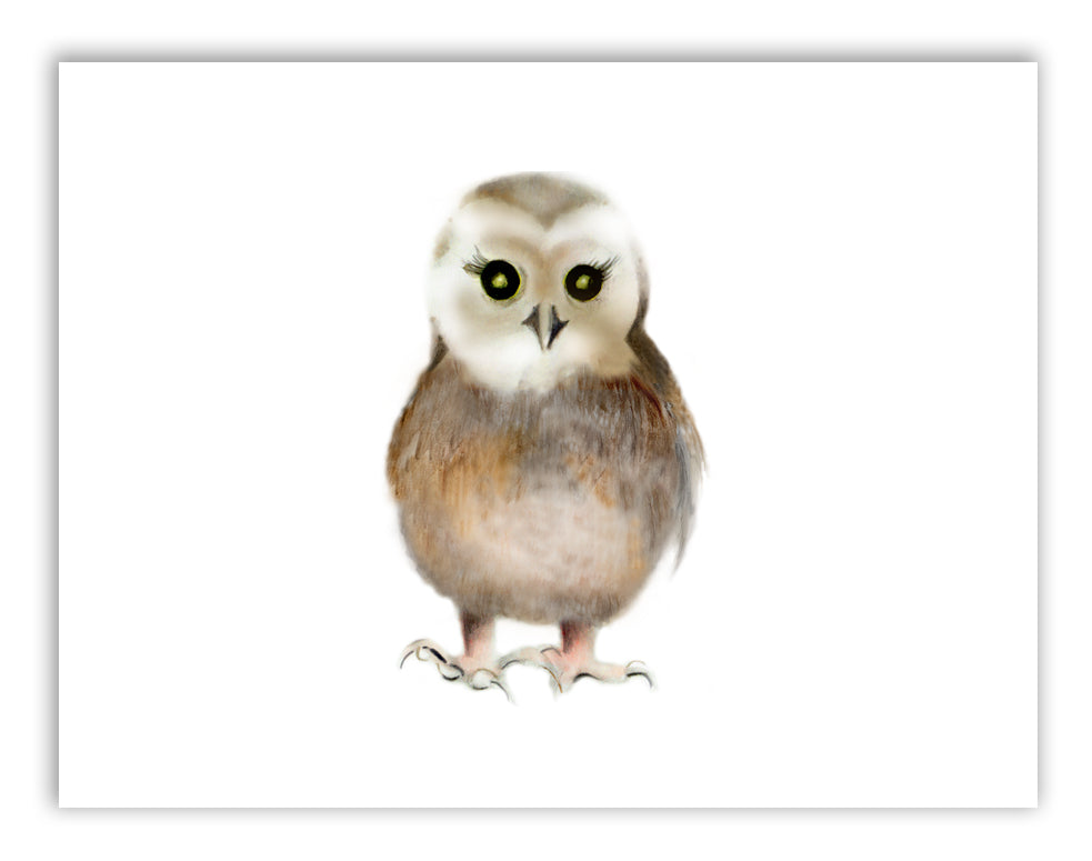 Baby Owl Nursery Art Print - Studio Q - Art by Nicky Quartermaine Scott