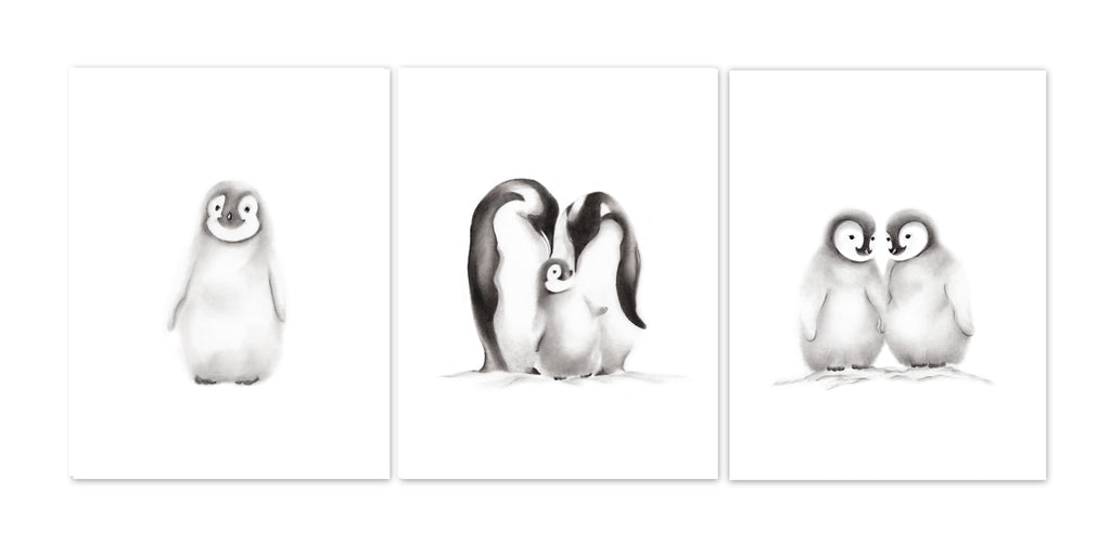 Penguin Family Nursery Art - Set of 3 Prints - Studio Q - Art by Nicky Quartermaine Scott