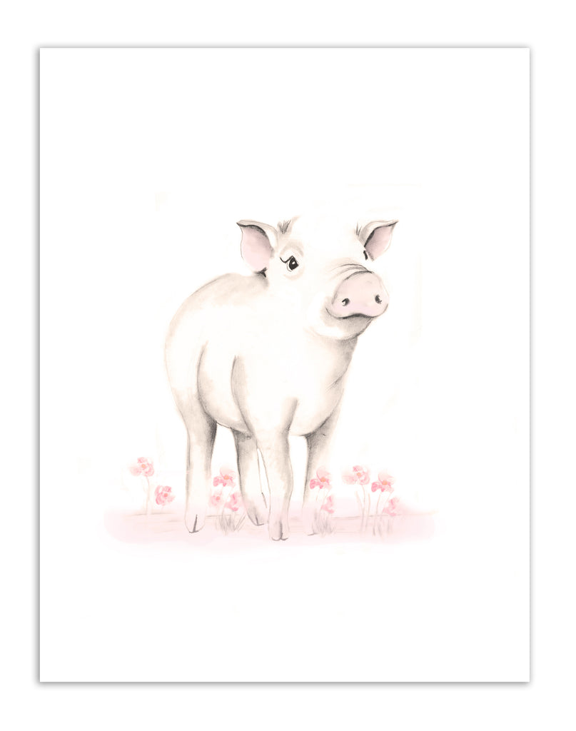 Baby Pig Nursery Art Prints - Sweet Blush - Set of 4 - Studio Q - Art by Nicky Quartermaine Scott