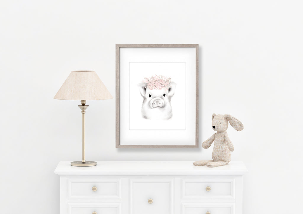 Pig with Blush Flower Crown Print - Studio Q - Art by Nicky Quartermaine Scott