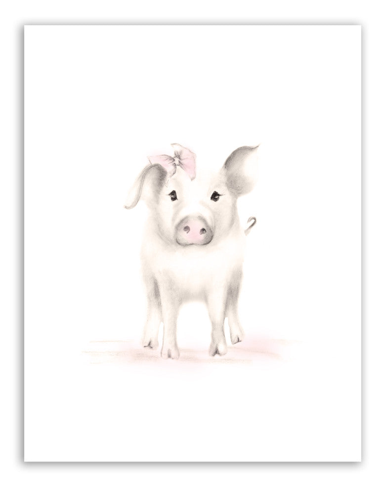 Pig Nursery Print - Sweet Blush - Studio Q - Art by Nicky Quartermaine Scott