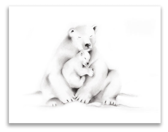 Polar Bear Family Pencil Drawing Print - Studio Q - Art by Nicky Quartermaine Scott