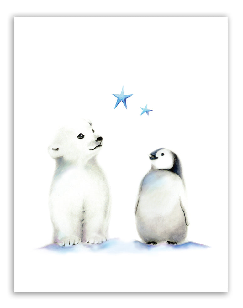 Polar Bear and Penguin Nursery Art Print - Studio Q - Art by Nicky Quartermaine Scott