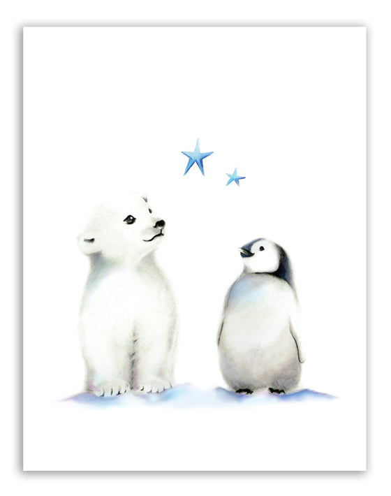 Polar Bear and Penguin Nursery Art Print