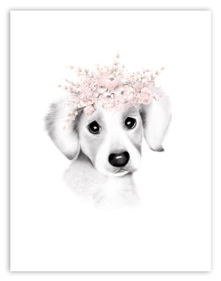 Jack Russell Pup Floral Crown Print
