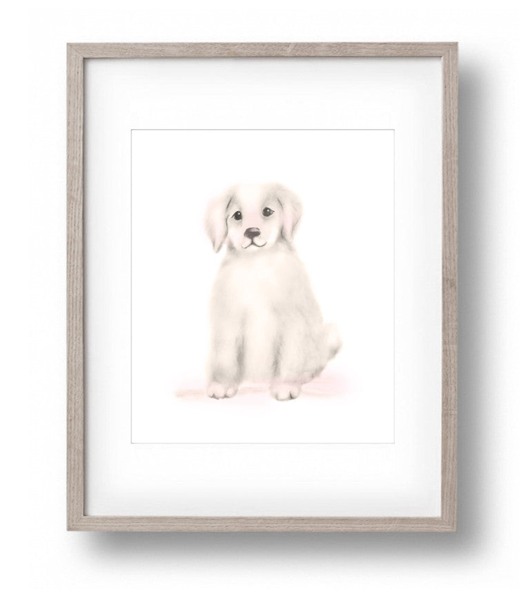 Puppy Nursery Art Print - Sweet Blush - Studio Q - Art by Nicky Quartermaine Scott