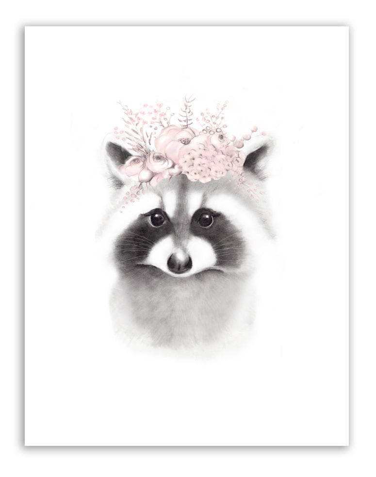 Raccoon Blush Flower Crown Print - Studio Q - Art by Nicky Quartermaine Scott