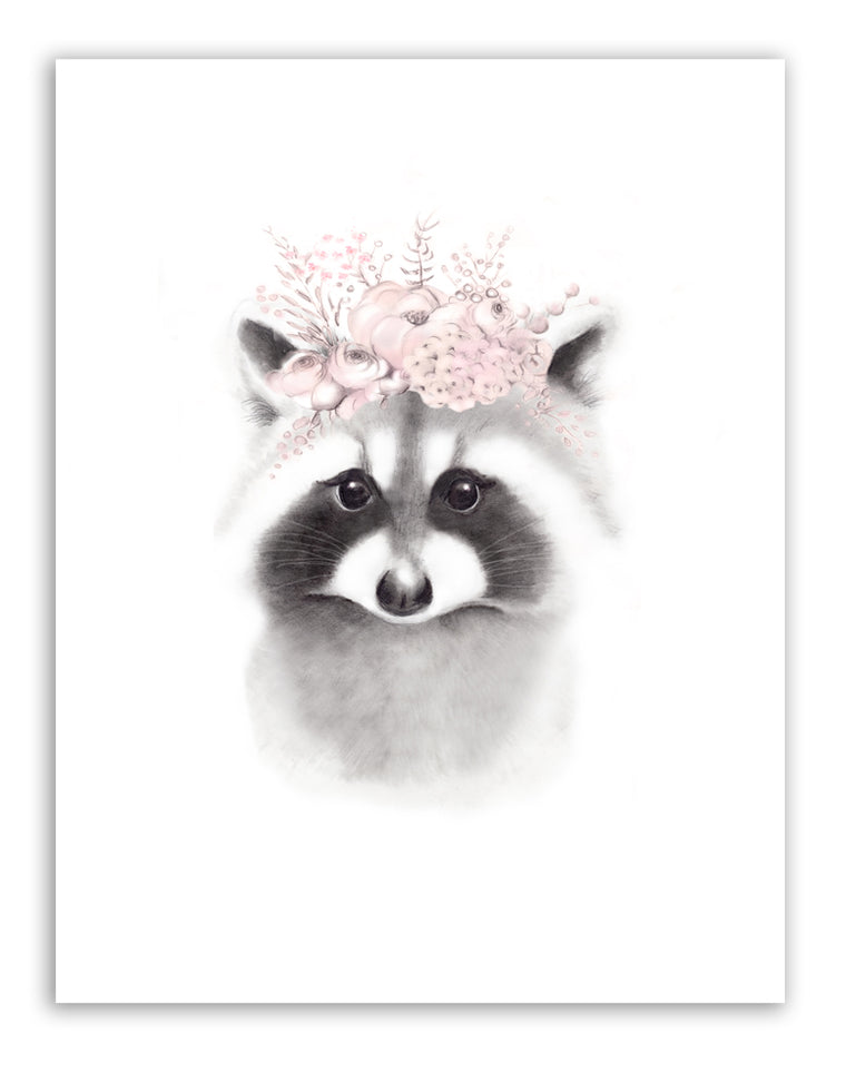 Raccoon Flowers Fluffy Face Nursery Art Print