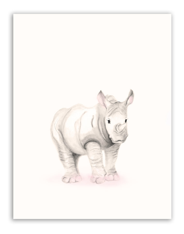 Rhino Nursery Art Print - Sweet Blush