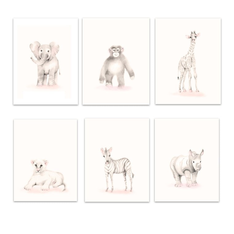 Safari Animal Art Prints Set 6 - Sweet Blush