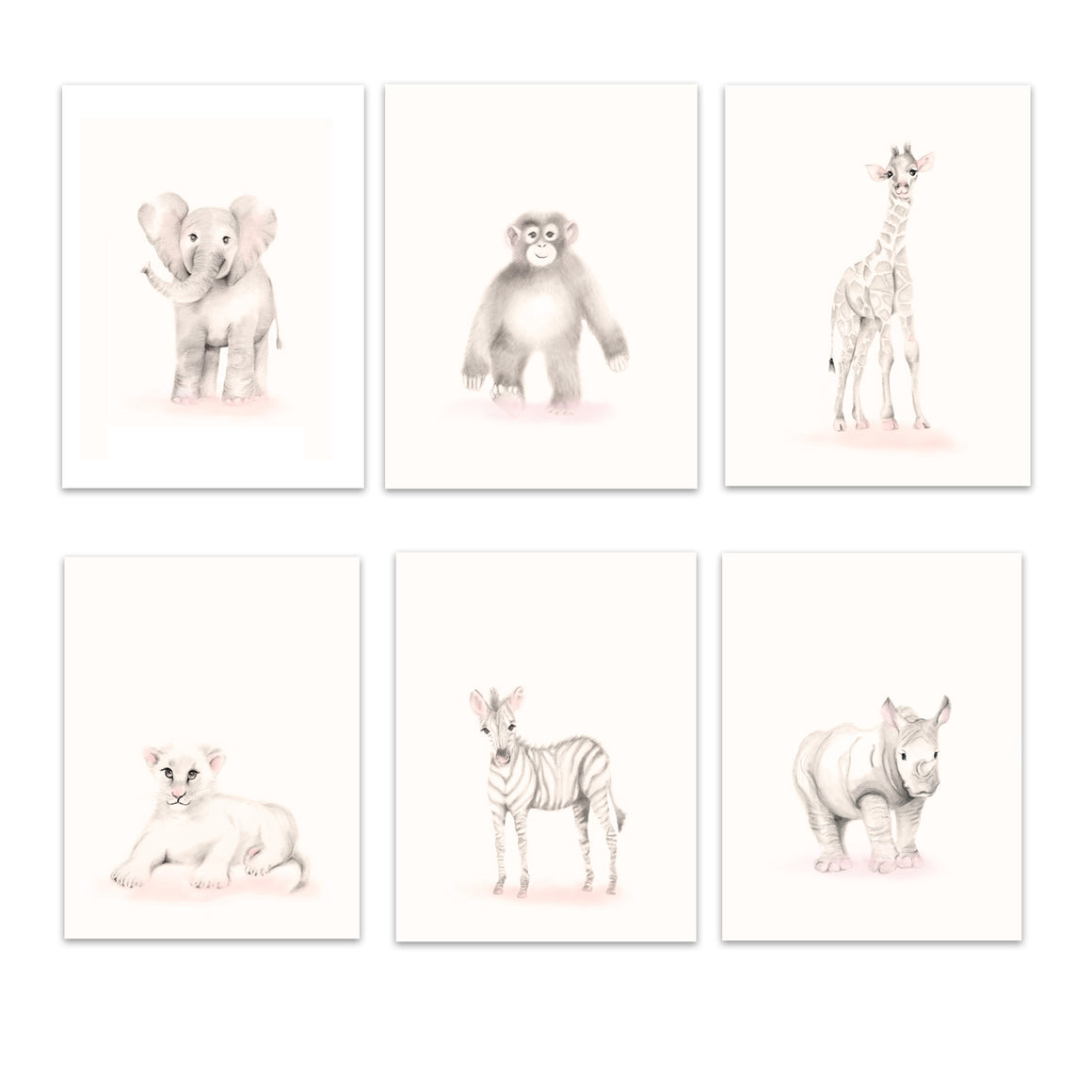 Safari Animal Print Set 6 - Sweet Blush - Studio Q - Art by Nicky Quartermaine Scott