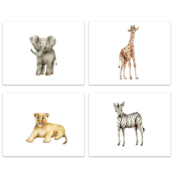 Safari Nursery Art Set of 4 Prints - Studio Q - Art by Nicky Quartermaine Scott