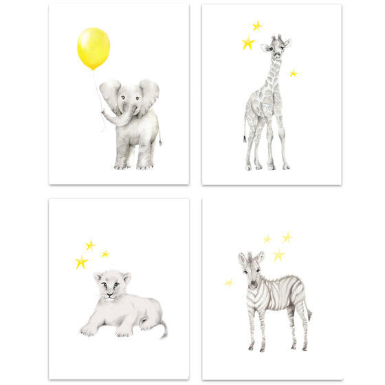 Safari Animal Art Prints - Set of 4 - Studio Q - Art by Nicky Quartermaine Scott