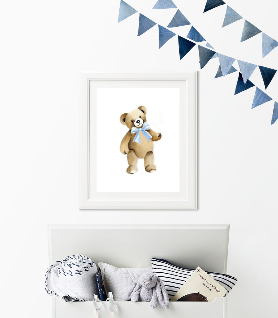 Teddy Bear with Bow Nursery Print - Studio Q - Art by Nicky Quartermaine Scott