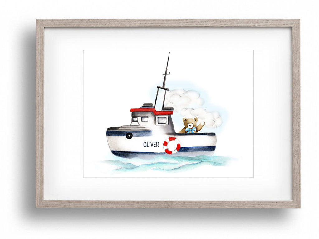 Boat with Bear Nursery Print - Studio Q - Art by Nicky Quartermaine Scott
