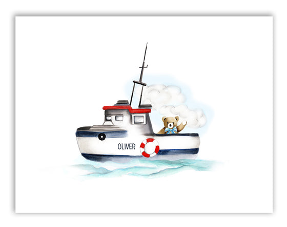 Boat with Bear Nursery Print