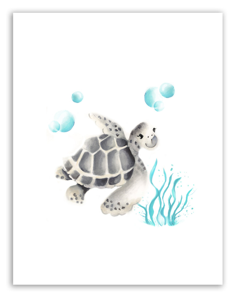 Turtle with Bubbles Print