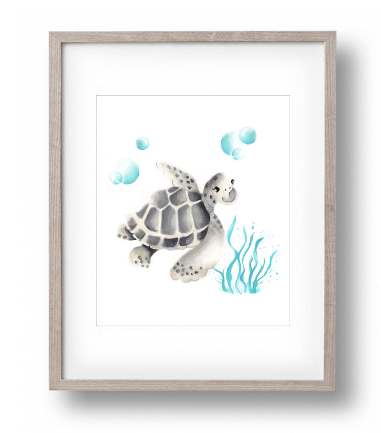 Turtle with Bubbles Print - Studio Q - Art by Nicky Quartermaine Scott