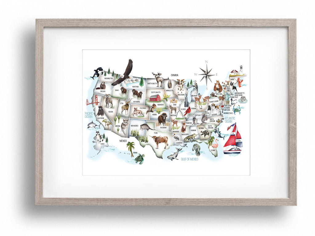 USA Animal Map for Kids - Custom Name Print