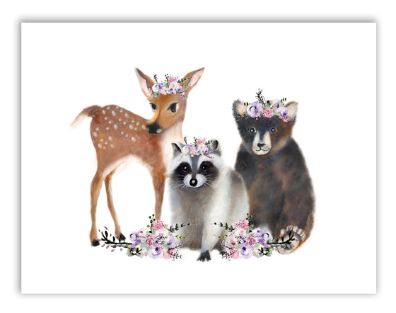 Baby Woodland Animals with Flowers Print