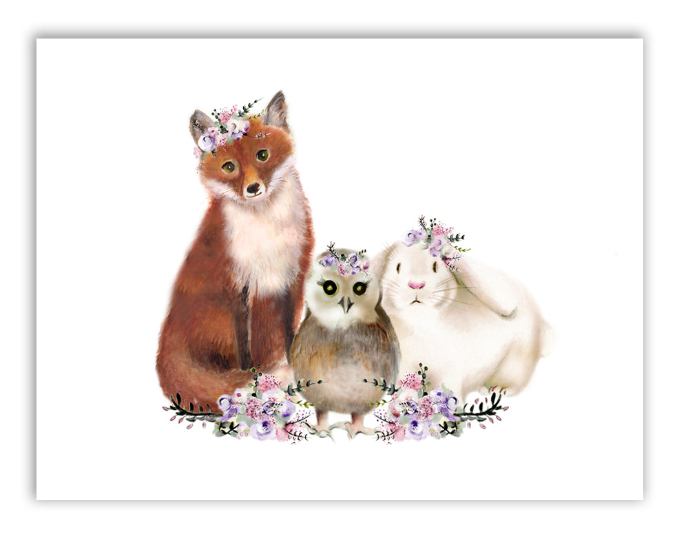 Baby Woodland Animals with Flowers Print - Studio Q - Art by Nicky Quartermaine Scott