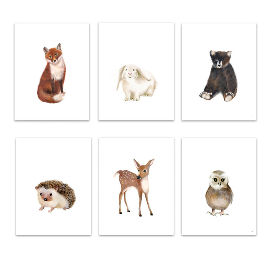 Woodland Nursery Art Set of 6 Prints - Studio Q - Art by Nicky Quartermaine Scott