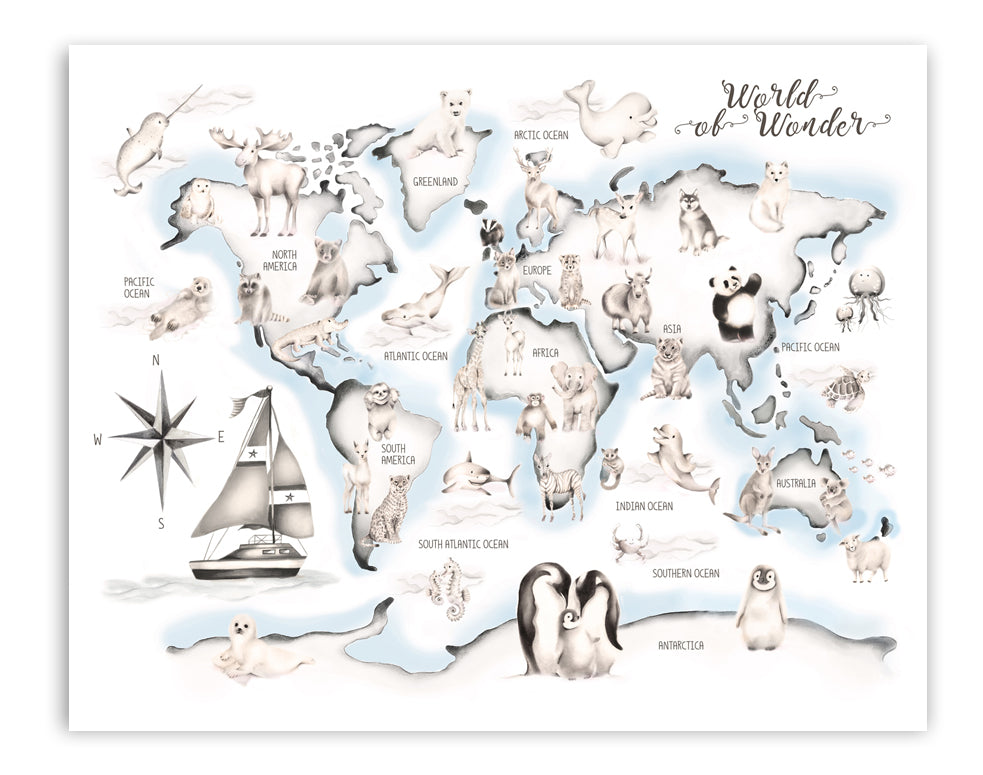 Blue Boat Animal World Map Print - Studio Q - Art by Nicky Quartermaine Scott