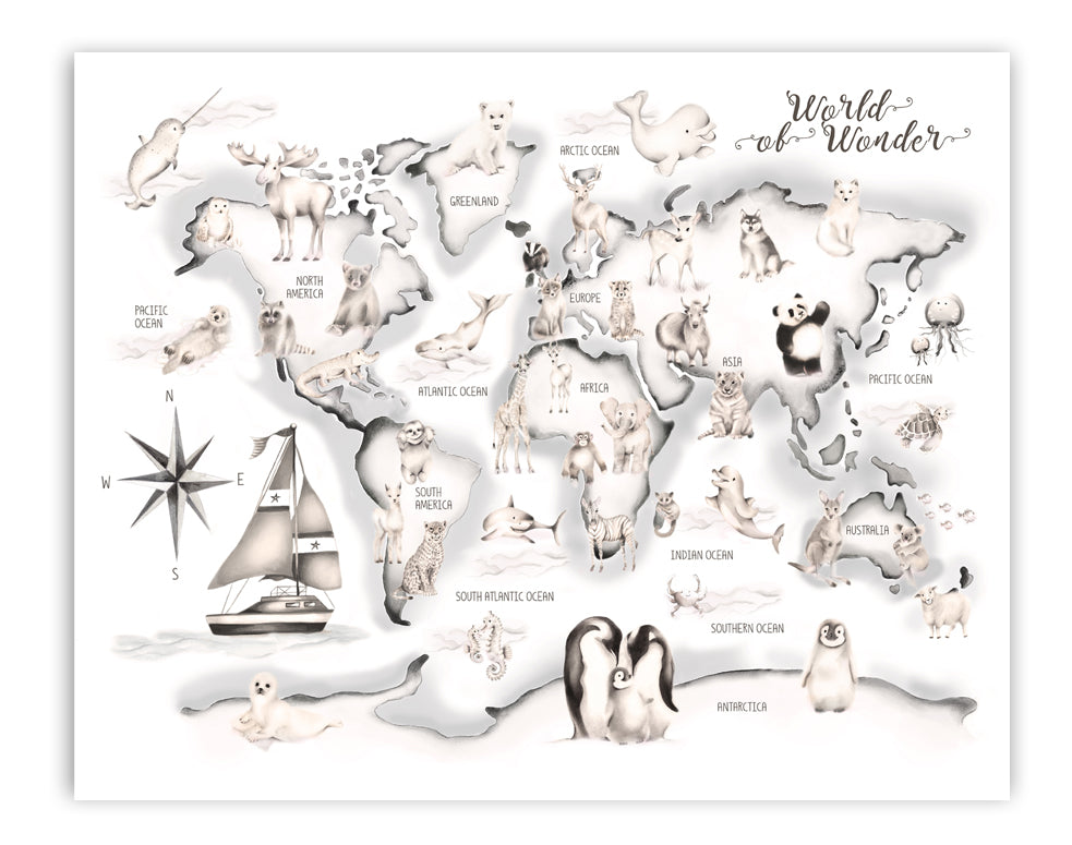Grey Boat Animal World Map Print - Studio Q - Art by Nicky Quartermaine Scott
