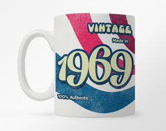White coffee mug with customization 1996 birth year, with red, white, and blue thick stripes underneath