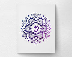 Art print on canvas of a multi-tone purple mandala