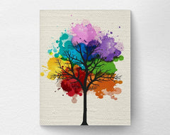 Art print on canvas of a rainbow watercolor tree